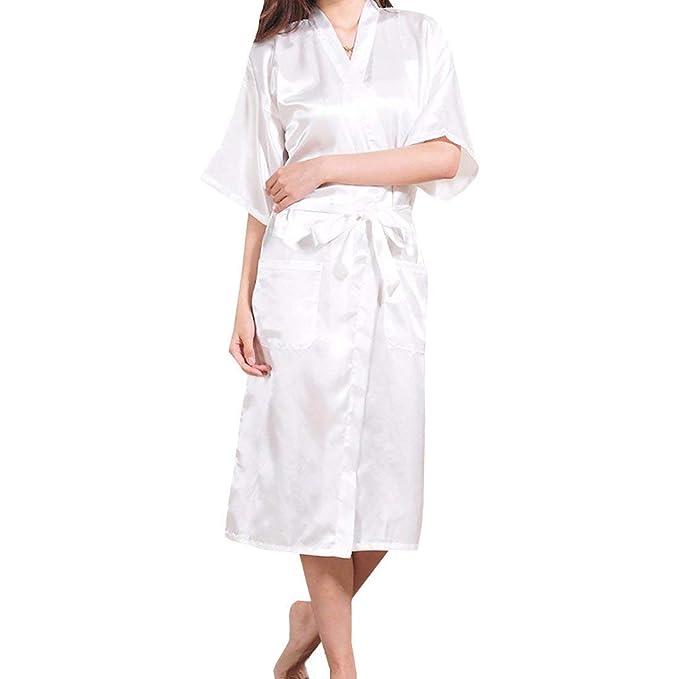 Bata Larga para Mujer Bata Larga Satin Mujeres Robe Kimono Casuales Calentamiento Nocturno Bata De Baño Albornoz Camisas Pijama Bata: Amazon.es: Ropa y ...