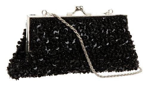La Regale Sequin Bead Shoulder Clutch,Black,one size