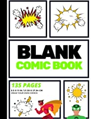 Blank Comic Book • 135 Pages• 15+ Different Action Layouts                                Makes an excellent gift for kids, students, artists, creatives, children, teens, and adults!              Thislarge, blank ...