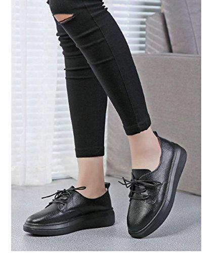 Printemps Plateforme Talon Ballerine Plat Mocassin Chaussure Cuir Noir Au Simplicité Femme Lacets Jrenok X4I6vw