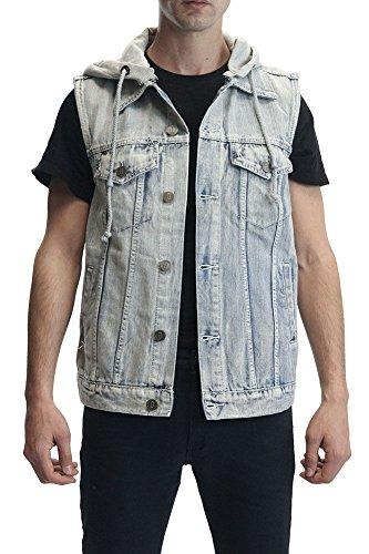Victorious Denim Vest with Detachable Hood DV777 - ICEBLUE - X-Large
