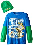 Teenage Mutant Ninja Turtles Big Boys' Don't Bother Me I'm Long Sleeve Two-Fer with Beanie, Royal/Green, X-Large