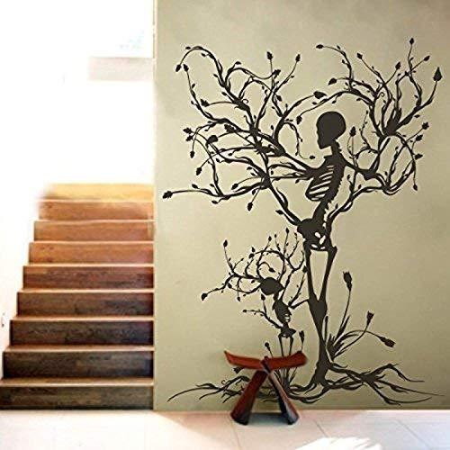 (Yetta Quiller Vinyl Vinyl Sticker Wall Art Gothic Wall Decal Halloween Decor Skeleton Art Vinyl Sticker Wall Art Tree Wall Art for Living)