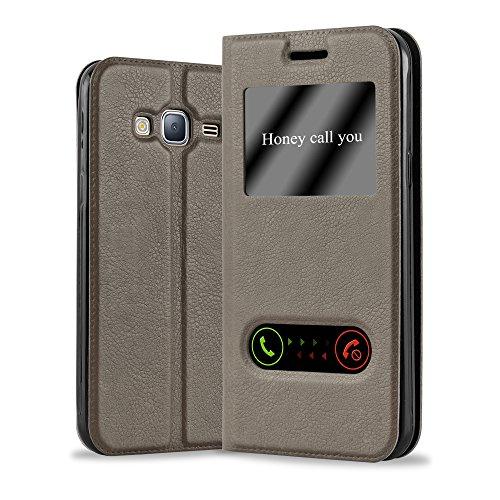 Cadorabo - Funda Book Style de Cuero Sintético en Diseño View para >                          Samsung Galaxy J3 / J3 DUOS - Modelo 2016                          < con Imán, Función de Soporte y Ventana