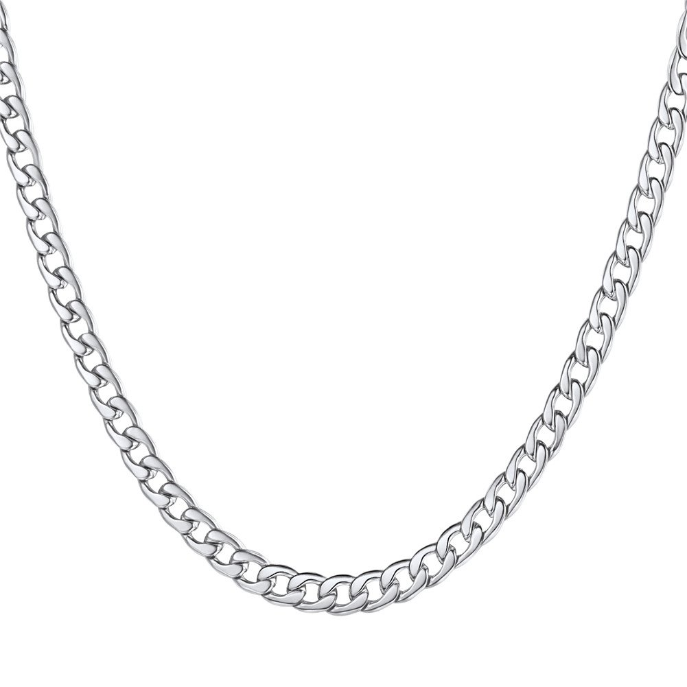 U7 Stainless Steel Curb Chain Necklace 5MM (18