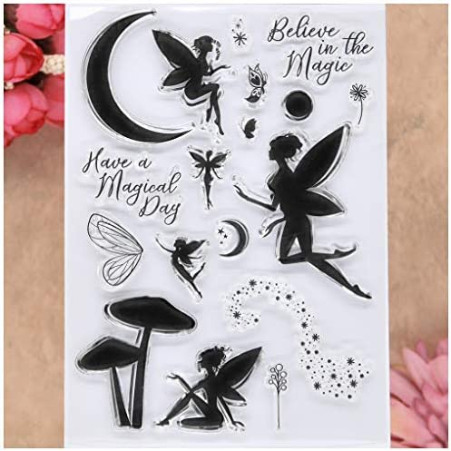 KWELLAM Best Wishes Happy New Home Tree Butterfly Owl Fairy Mushroom Bee Clear Stamps for Card Making Decoration and DIY Scrapbooking