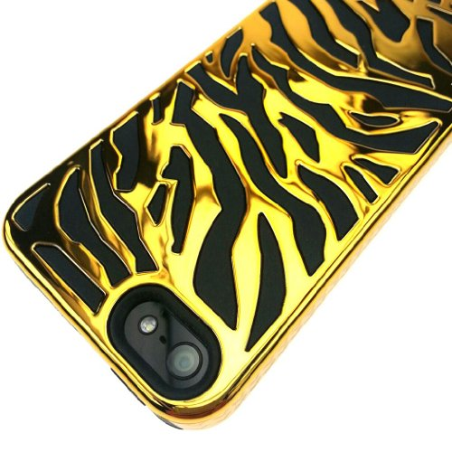 For Apple iPhone 5 5S - Wydan Hybrid Zebra Tiger Case Hard Silicone Combo Chrome Cover (GOLD ON BLACK) (Tigers Black Chrome Pen)