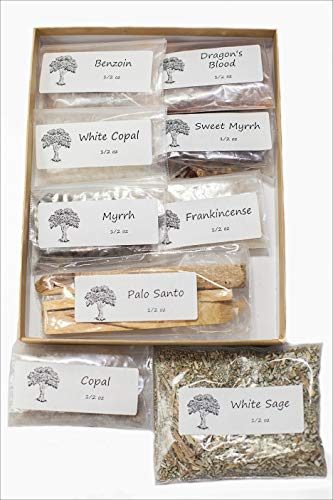 Sacred Scents For You Resin Incense Variety Sampler Pack Includes 1/2 oz Frankincense-Myrrh-Sweet Myrrh-Copal-White Copal-Benzoin-Dragon's Blood-Ground Loose Leaf White - Orthodox Incense