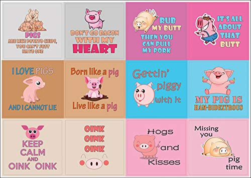 Gift Rewards Ideas for Boys Animal Lovers Sticker Collection Set Creanoso Cute Pig Stickers for Kids Parent Teacher Incentives Teens 10-Sheet Girls Inspiring Pig Sayings for Boys Girls