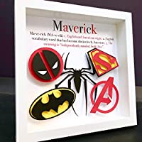Personalized Name Origin and Meaning Frame with Paper Marvel Comics & DC Comics logos Superman Batman Spiderman Deadpool Avengers Wall Art
