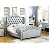 Coaster Home Furnishings Upholstered Platform Bed in Gray Gold (Queen: 91 in. L x 66.5 in. W x 65 in. H)