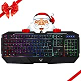 PICTEK Wired Gaming Keyboard Rainbow LED Backlit Keyboard Computer PC Mac Laptop Gaming Keyboard, 26 Keys Anti Ghosting, Ergonomic Wrist Rest, Waterproof Keyboard for Gamers Typists, 6 Rainbow Colors