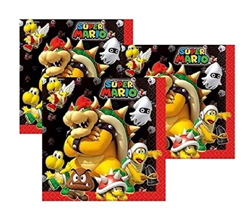 Super Mario Bros Bowser and Friends Dinner Napkins (48 Count) by Party Supplies by Party Supplies