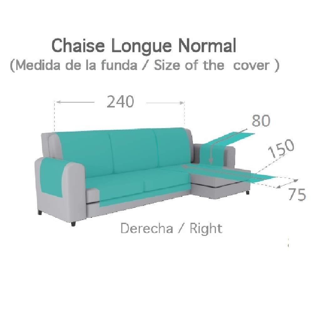 textil-home Funda Cubre Sofá Chaise Longue Adele, Protector para Sofás Acolchado Brazo Derecho. Tamaño -240cm. Color Gris (Visto DE Frente)