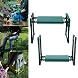 Amashion Garden Kneeler Seat with Handles Foam Padding, Heavy Duty Folding Gardening Kneeler with Storage Tool Pouch,250 Lbs (Green)