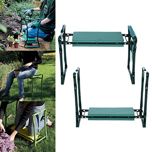 Amashion Garden Kneeler Seat with Handles Foam Padding, Heavy Duty Folding Gardening Kneeler with Storage Tool Pouch,250 Lbs (Green) by Amashion