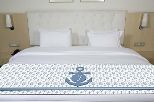 Unique Textile Printing Letter I Nautical Anchors & Ship Wheels Initial Monogram Bed Runner Scarf Twin/Full/Queen/King Size