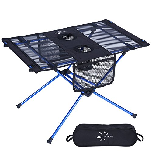 (Fruiteam Portable Camp Table Folding Beach Table Roll Up Picnic Table with Carry Bag for Backpack Hiking Camping)