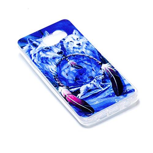 Funda de silicona KaseHom para Samsung Galaxy A310/A3 2016, Suave Slim Carcasa Samsung Galaxy A310/A3 2016 Diseño elegante única pintada Protección contra los arañazos Case Cover - Calavera Rosas Tótem de lobo