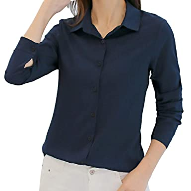 f0a19656 Pervobs Women Elegant Long Sleeve Chiffon Solid Office Work OL Career  Button-Down Shirts Tops