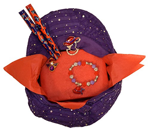 Black Friday / Cyber Monday Deal Red Hat Ladies Society / Purple Sparkle Newsboy Hat Gift Basket