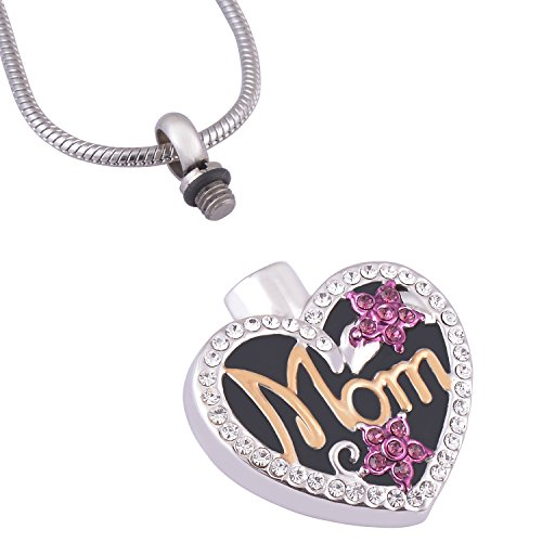 Eternally Loved Free Engraving Personalized Mom in Heart Cremation Necklace Two Tone Ashes Urn Memorial Pendant Jewelry for Women(engraving) (Locket Necklace Mom Heart)