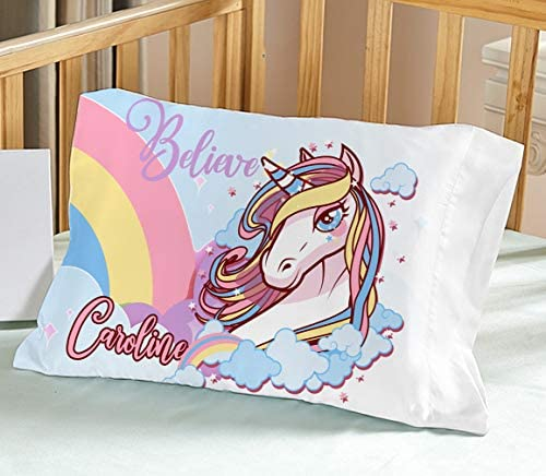 TODDLERTRAVEL Personalized Unicorn Pillow Case Big Sister Gift Adoption Day Gift Daycare Preschool