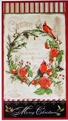 Wreath Fabric Panel (Christmas in the Wildwood~Cardinal Wreath Panel 24