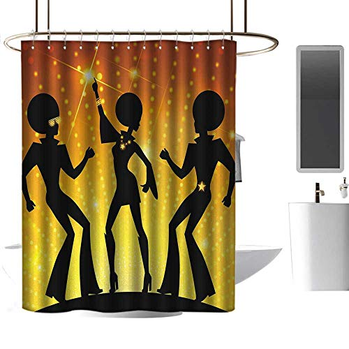 coolteey Shower Curtains That Open in The Middle 70s Party,Dancing People in Disco Night Club with Afro Hair Style Bokeh Backdrop,Orange Yellow Black,W48 x L72,Shower Curtain for Kids