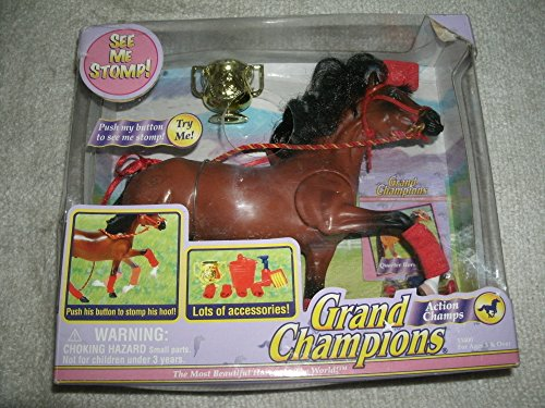Vintage 2002 Grand Champions Action Champs Horse with Stomping Foot and Accessories