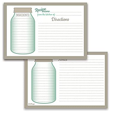 Mason Jar Recipe Card Set from Dashleigh, 48 Cards, 4x6 inches, Water-Resistant and