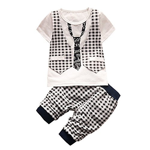 Bunting Snow Costume White Baby (BibiCola Baby Boy Clothes Newborn Toddler Boy Summer Clothing Set Gentleman 2pcs Lattice Clothes Sets Boys Summer Set (4T,)