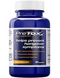 PreToxx for Hangovers - Natural Liver Support Supplement - With Prickly Pear, Milk Thistle, Cysteine & Electrolyte Blend - 60 Vegetarian Capsules