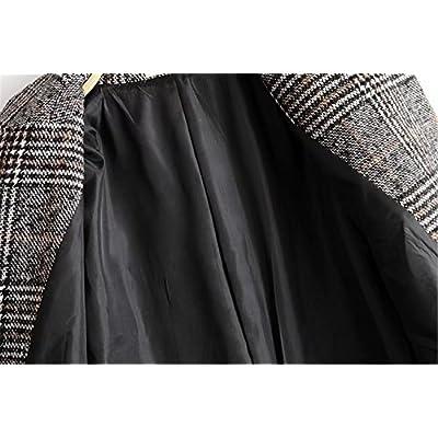 Women Classic Lattice Winter Overcoat Lapel Double Breasted Woolen Long Coat: Clothing