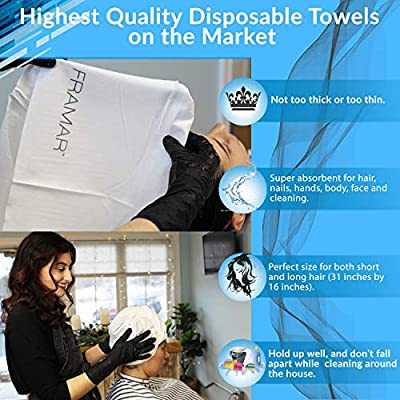 Framar Hair Salon Towels Bleach Safe Disposable Towels - 50 pcs - Hair Towels, Spa Towels, Rapid Dry Towels - Ecofriendly, Nails Supply, Biodegradable, Bleach Proof Towels for Salon - 50 Count
