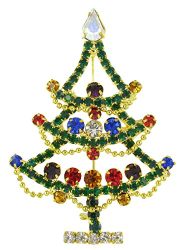 Draped Christmas Tree Outline Holiday Fashion Rhinestone Brooch Pin - Multicolored (Outline Brooch Pin)