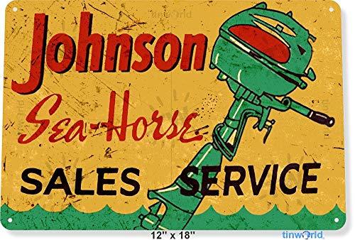 NGFD TIN Sign 8x12 inch Johnson Sea-Horse Outboard Motors RY Lake Beach House Garage Marina Boat Metal Decor B830