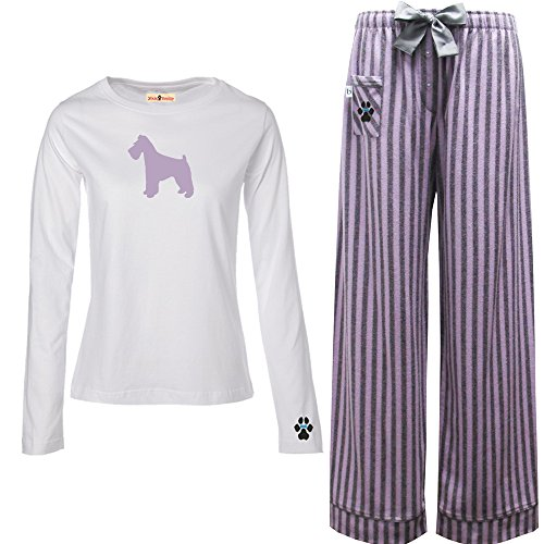 Schnauzer Natural (YourBreed Clothing Company Schnauzer Natural Ears Ladies Flannel Pajamas. Size S)