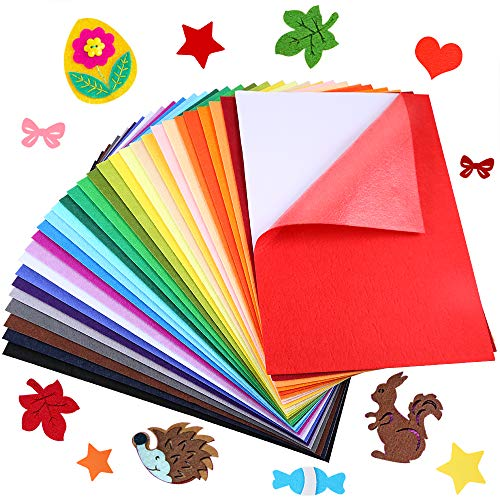 "Caydo 30 Pcs 8"" x 12"" Adhesive Backed Felt Fabric Sheets, Assorted Color Felt Sheet for Sewing DIY Craft"