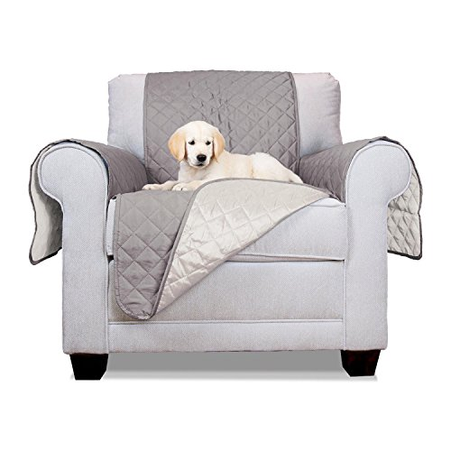 ALEKO PSC01G Pet Furniture Slipcover Spill Scratch Pet Fur Protection Cover for Lounge Chair Couch Bed 65 x 70 Inches Gray