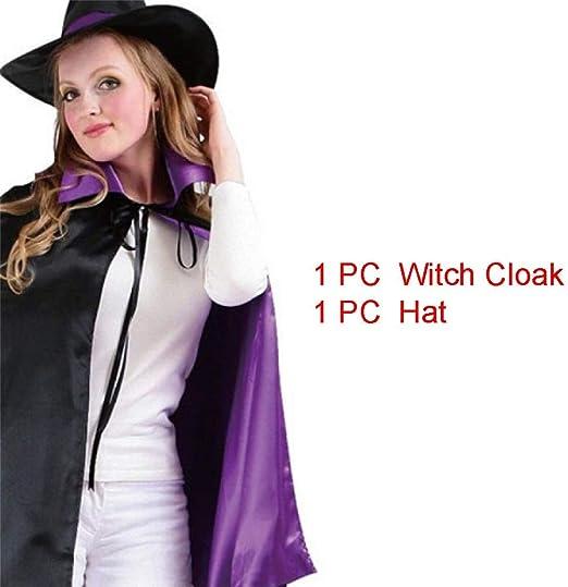 vap26 Halloween Adulto Bruja Mago Doble-Cara Satén Capa Sombrero ...