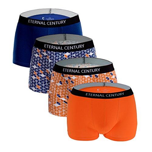 Mens Short Low Boxer Rise (ETERNAL CENTURY Men's Underwear Cotton Stretch Low-Rise Boxer Briefs (4-Pack) Diamond M)