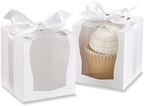 junao 12 Piezas Cajas Cupcakes Blanca, Recipientes de Pastel Desechables, con Bandeja Interior y Cinta Blanca, para Cumpleaños de Fiesta de Cumpleaños de Candy Candy Treat (3.5 x 3.5 x 3.5 Pulgadas): Amazon.es: Hogar