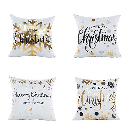 LEIOH Christmas Pillow Covers 4 Pack Gold Stamping Print Snowflakes Merry Christmas Decorative Sofa Throw Pillow Case Cushion Covers 18 X 18 Inch,Polyester Satin Fabric (Christmas Pillow Merry)