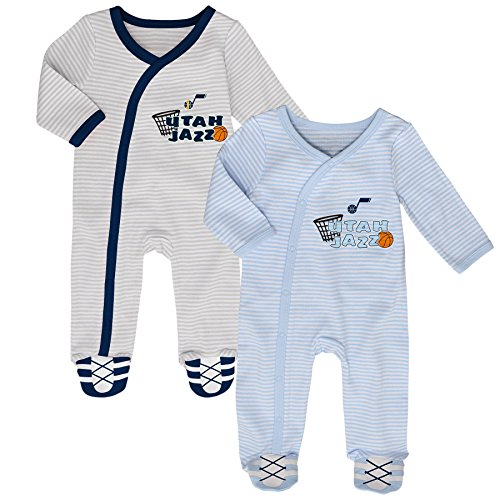 Outerstuff NBA Utah Jazz Newborn B-Ball Best 2 Piece Coverall Set, 0-3 Months, Cool Grey (Utah Jazz Onesie)