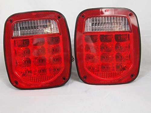 Jeep TJ CJ YJ MJ Replacement Tail Lights RED LENS w/Bright Red LED's LED License Plate Lights