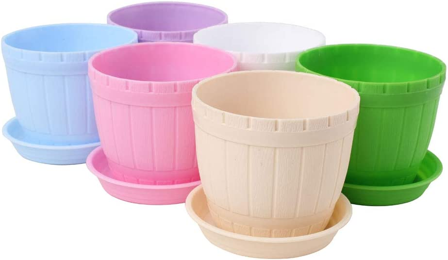WARMBUY Colorful Round Plastic Pots with Saucers for Plants, 6 Pack