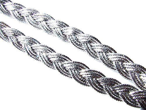 5 Meters Metallic Silver Braid 8 mm Wide Longsun
