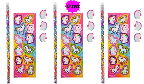 Unicorn Stationary sets - 12 pack - includes Unicorn Pencils, Erasers and sticker sheets