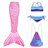 Play Tailor Girls Swimmable Mermaid Tails with Bikini and Backpack 4PCS Set Size 14